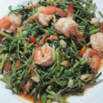 Spicy Stir Fry Water Mimosa with Shrimp - Pad Pak-Gra-Ched-Gung